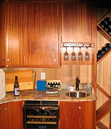 wine racks, wet bar, glass holder