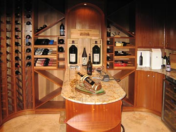 curved wine rack, solid wood cabinetry