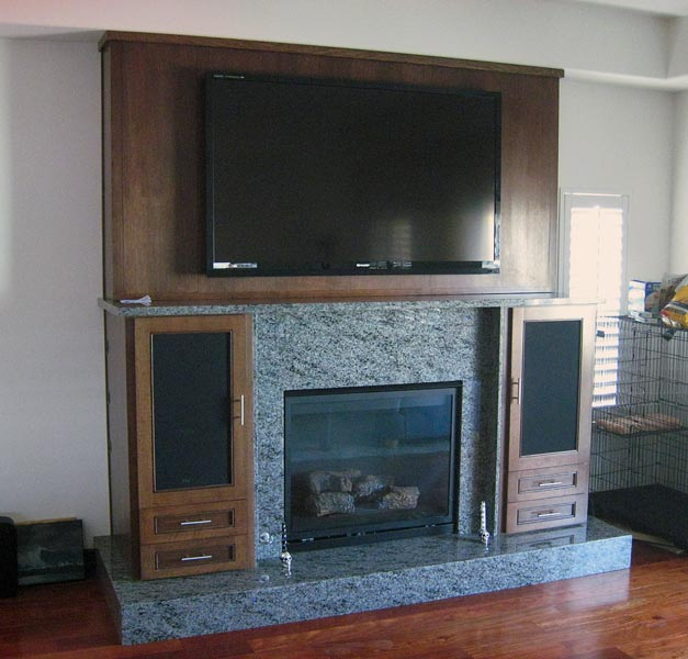 fireplace, solid wood with entertainment center