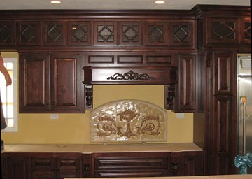 solid wood kitchen cabinet, glass inserts