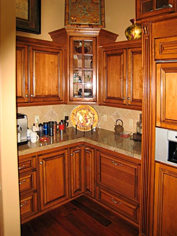 Glass cabinet doors on pinterest glass cabinet doors for Corner kitchen cabinets ideas
