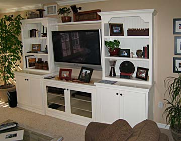 bookcase, tv center, custom shelving